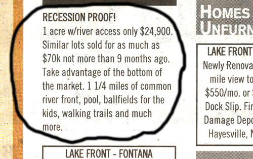 """""""Recession Proof!"""": classified advertisement"""