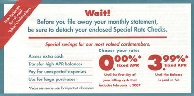 """This is the original Chase Card services """"3.99% fixed APR Until the Balance is paid in full"""" promotion"""