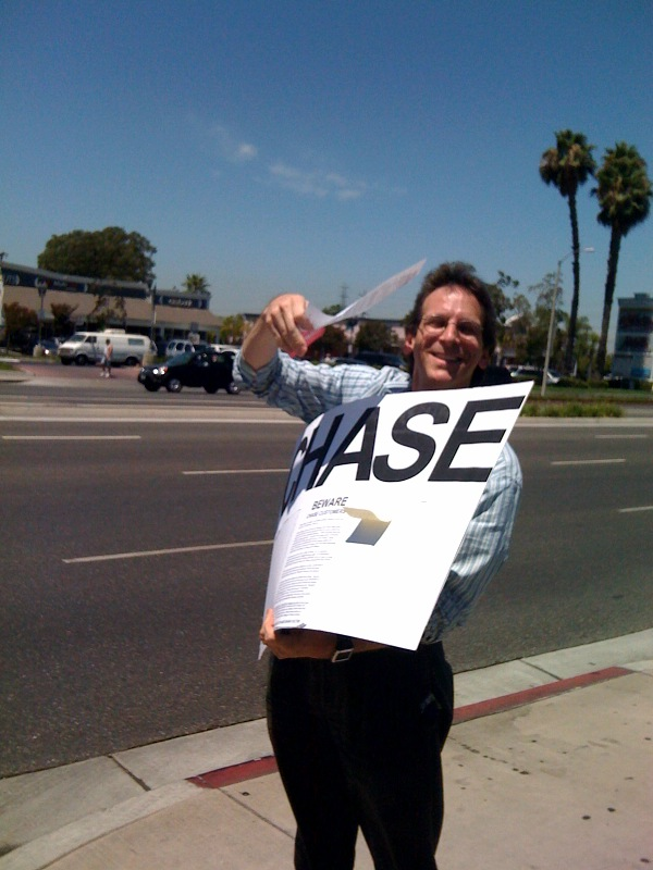 (Back side of DON'T TRUST) CHASE protest sign at California Chase bank branch