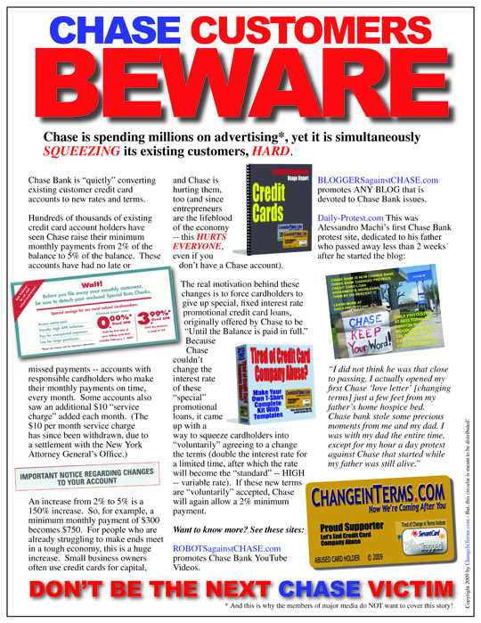 Chase BEWARE Squeezing Existing Customers HARD Flyer (Electronic Version 3)