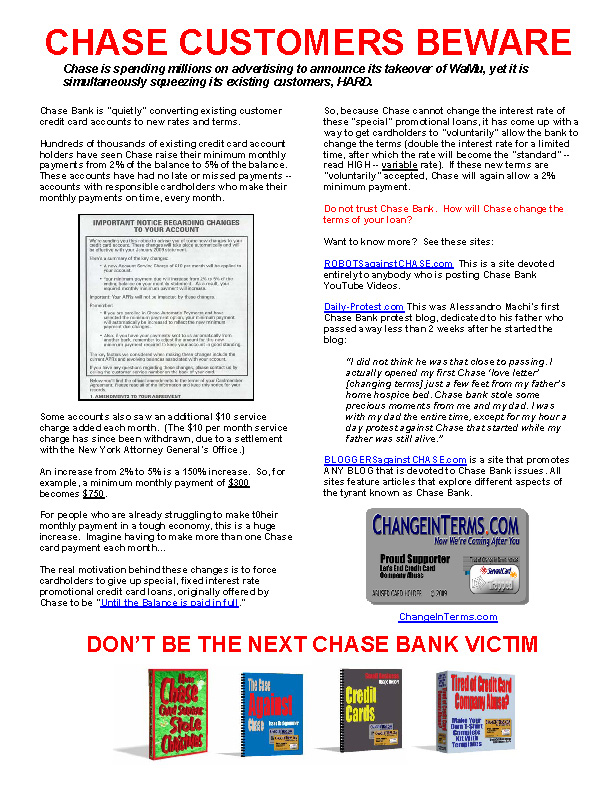 Chase BEWARE Squeezing Existing Customers HARD Flyer (Electronic Version 2)