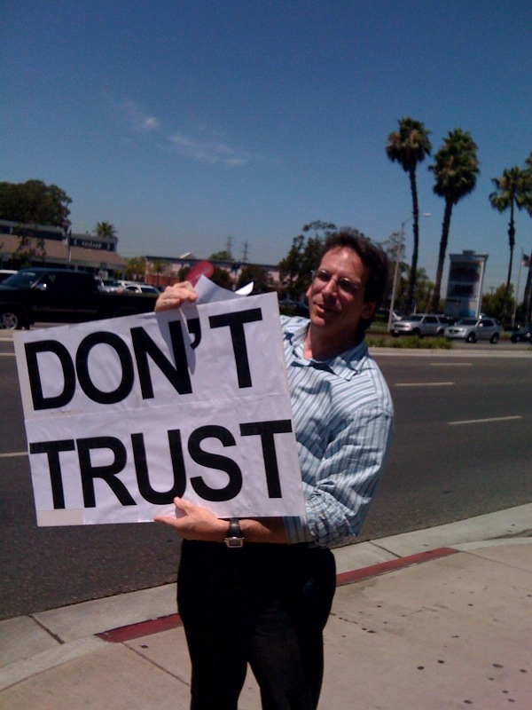 DON'T TRUST CHASE protest sign at California Chase bank branch
